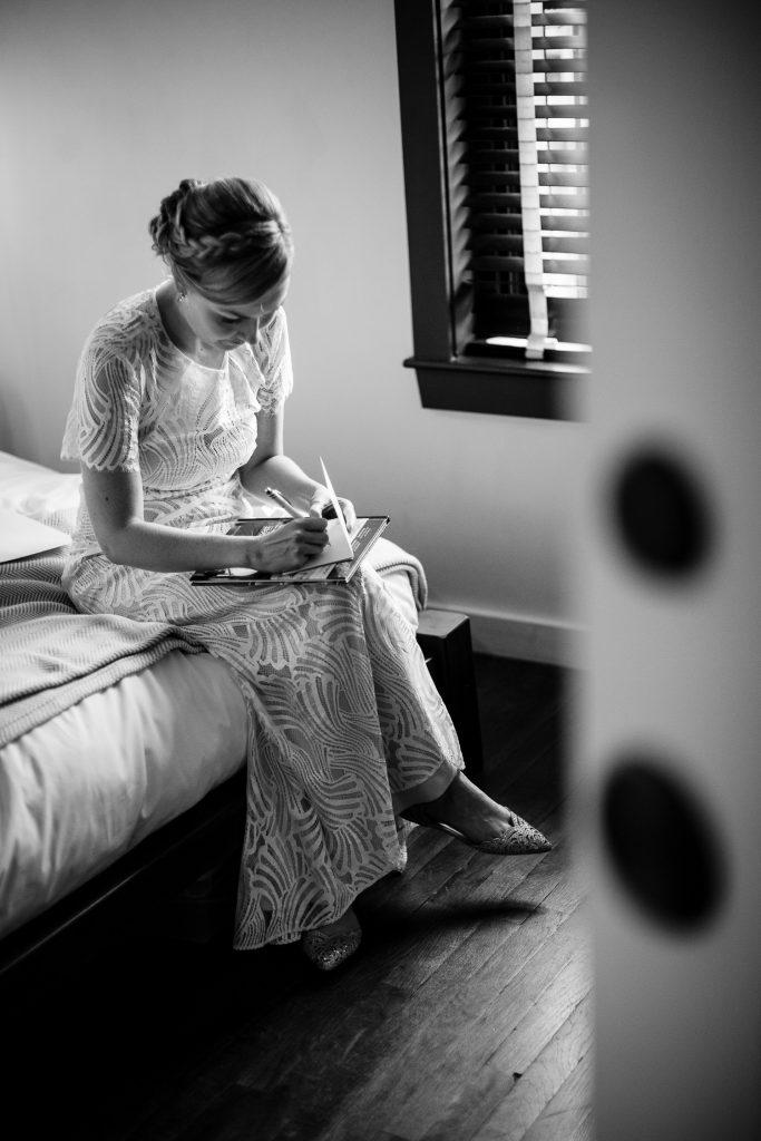 bride writes letter to groom