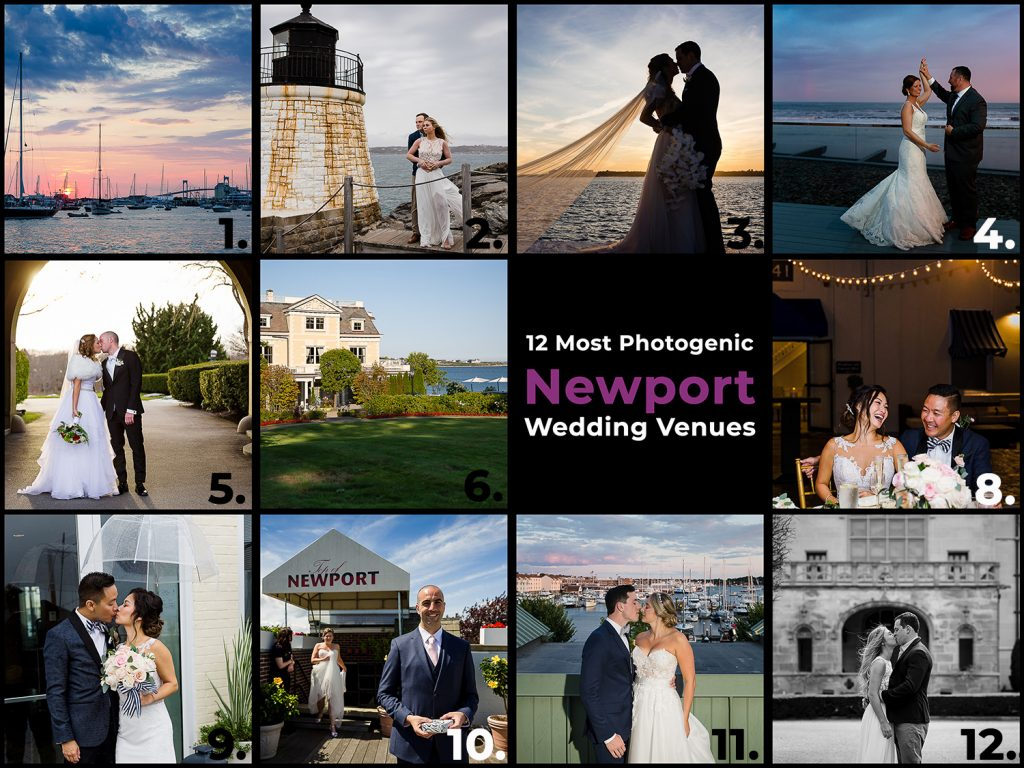 A grid with photos depicting the 12 most photogenic newport wedding venues