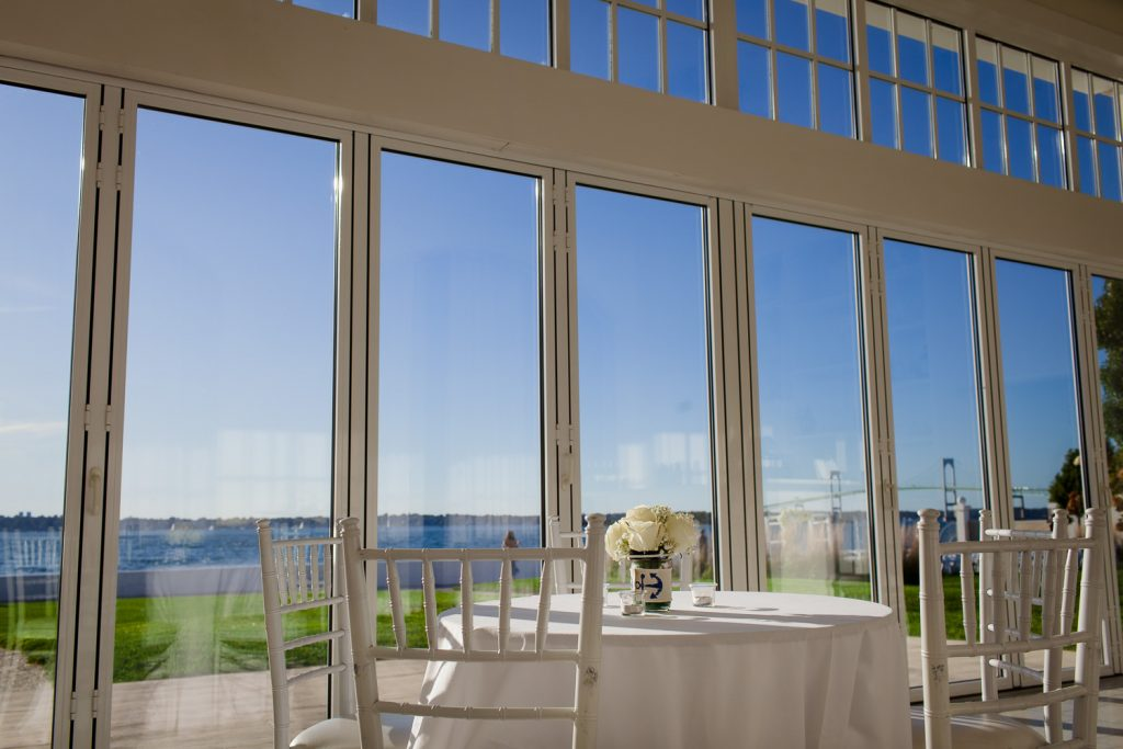 Retractable glass walls in the Water Salon at Belle Mer in Newport