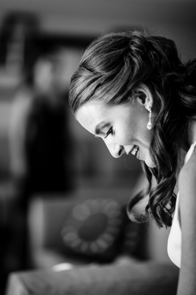 A bride getting ready for her mystic ct wedding
