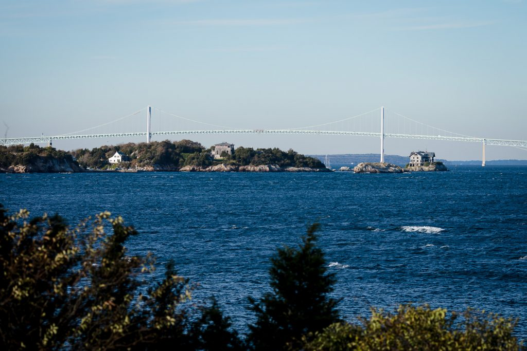 The view of ocean and bridge from castle hill inn in newport ri