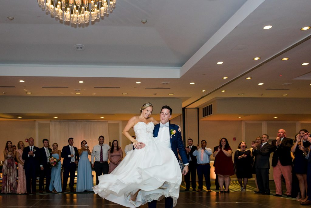 Bride and groom dance in the ballroom at the newport marriott