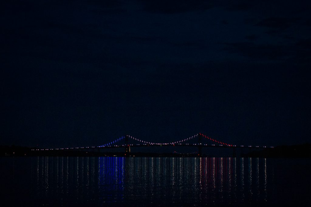 The mt hope bridge list up in red white and blue