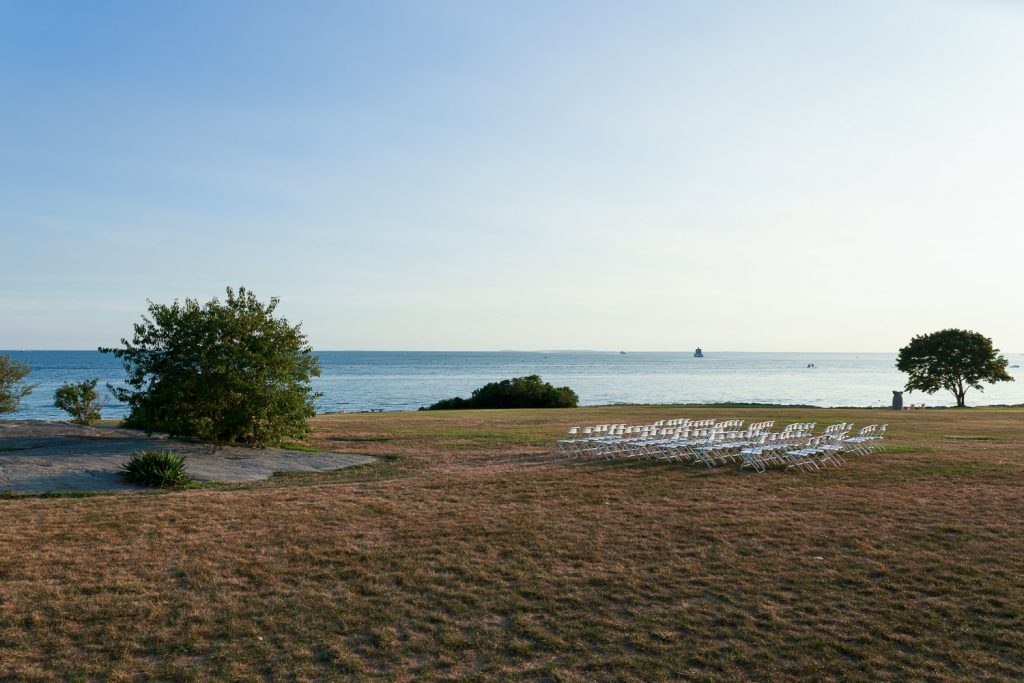 Chairs set up for a branford house wedding in CT