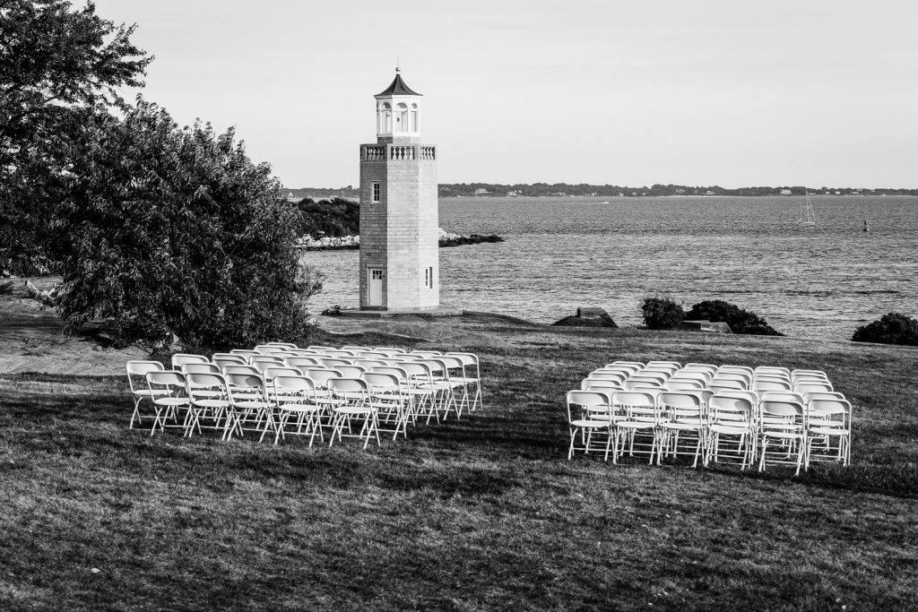 Chairs set up for a wedding on the lawn at Branford House CT