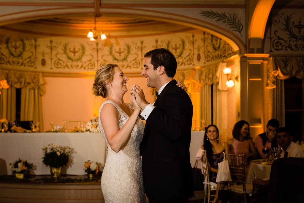 A bride and groom share a first dance in the ballroom at the Roger Williams Casino Wedding