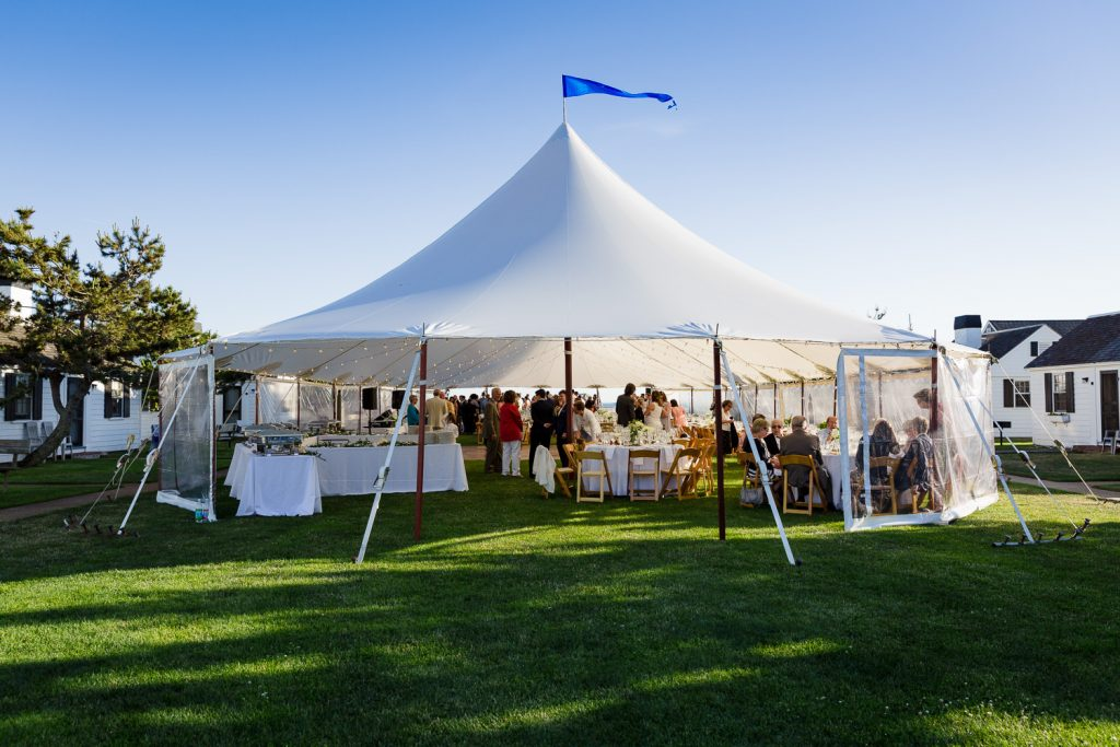 The wedding tent set up on the lawn at kalmar village