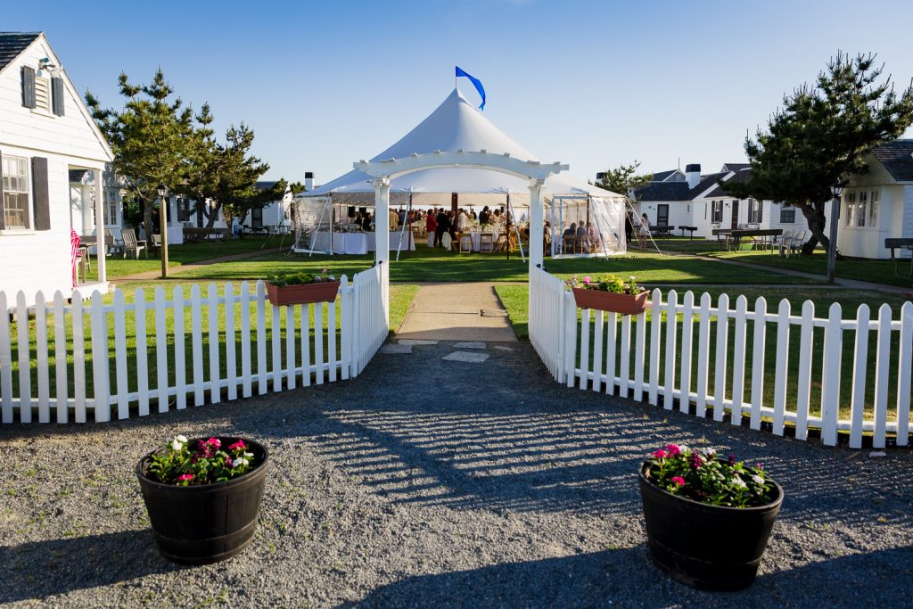 The white picket fence entry to the lawn area at kalmar village