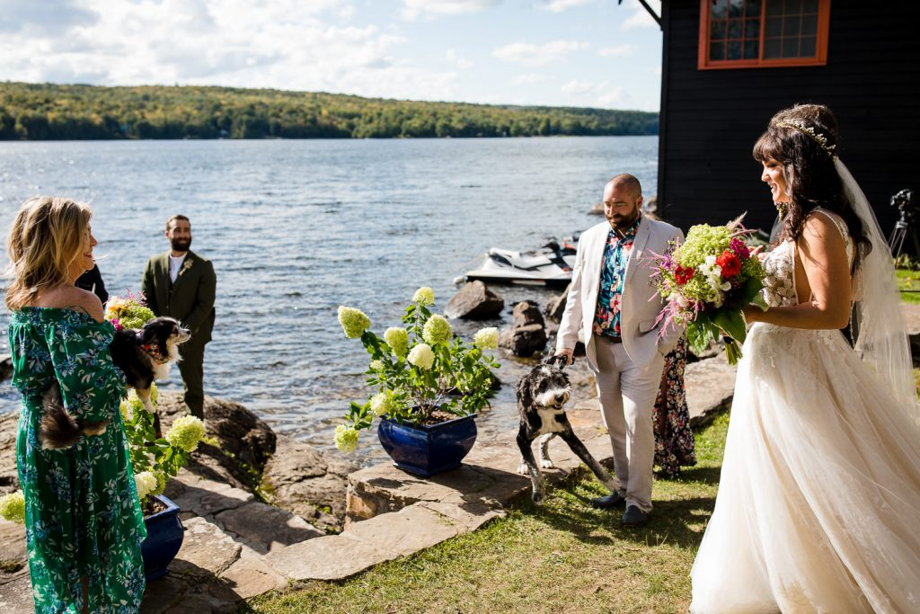 A bride arrives at her lakeside wedding ceremony as her dog tries to pounce on her