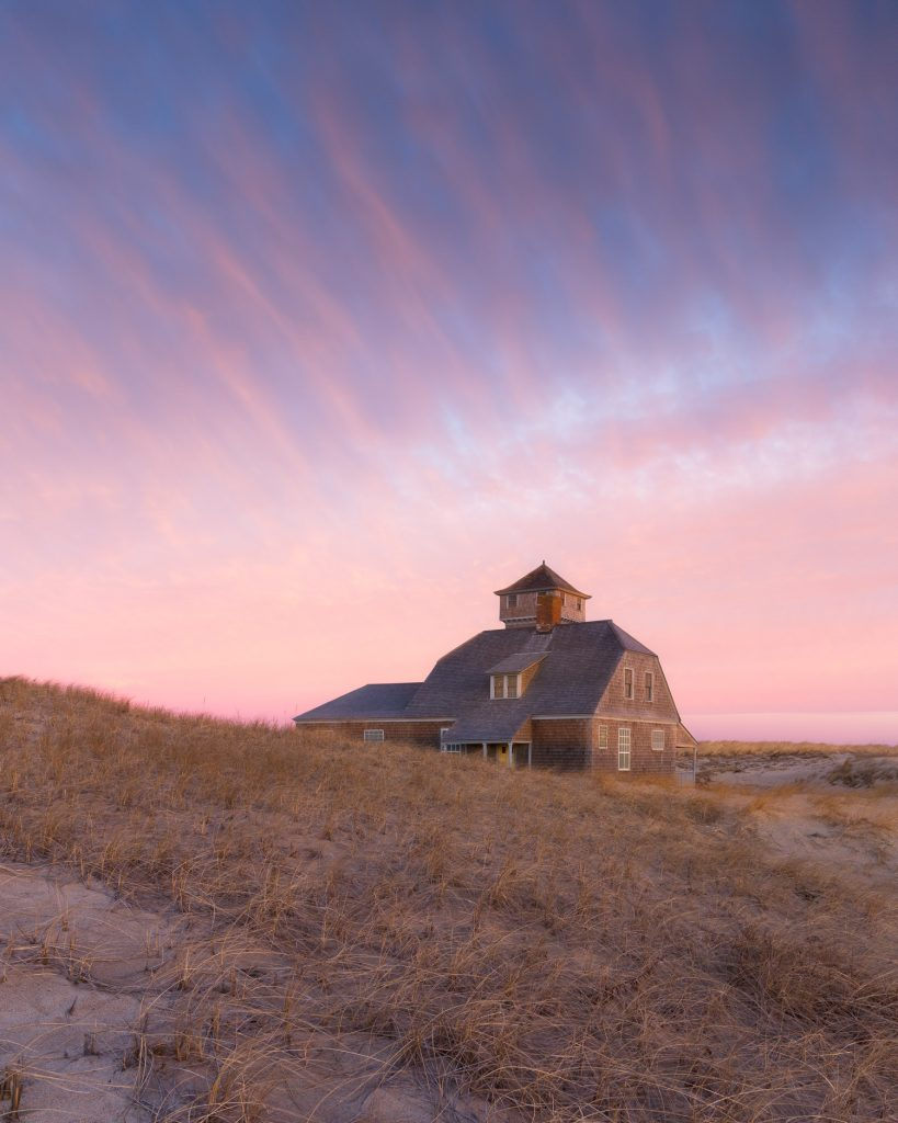 The old harbor lifesaving station in provincetown cape cod at sunrise