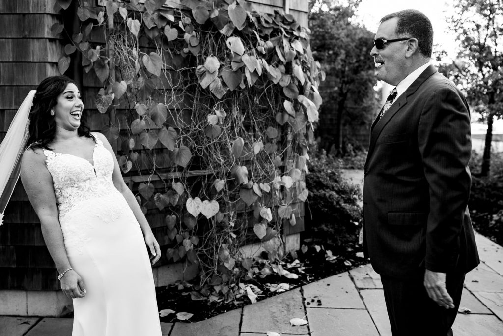 A dad reacts to seeing his daughter as a bride