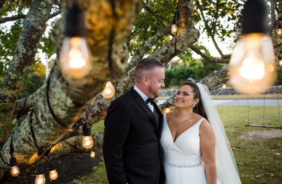 A bride and groom smile at each other beneath a tree with edison light bulbs at their shelter harbor inn wedding